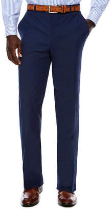 Jf J.Ferrar Men's JF Stretch Texture Med Blue Flat-Front Straight Leg Slim Fit- Pants