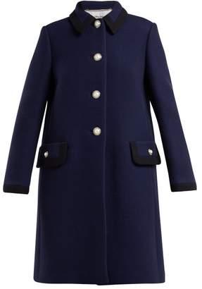 Miu Miu Embellished Wool Coat - Womens - Dark Blue