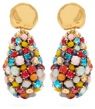 Lizzie Fortunato Roman Holiday Gold Plated Crystal Drop Earrings - Womens - Multi