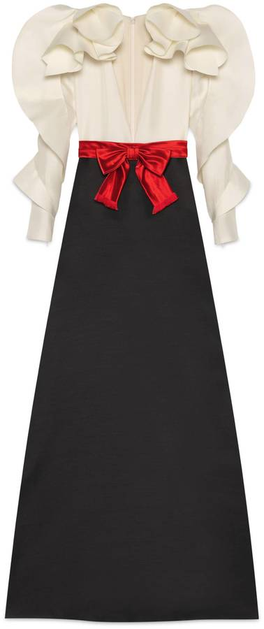 GucciSilk wool gown with sculpted sleeves