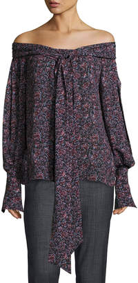 Magda Butrym Mons Long-Sleeve Floral-Print Off-the-Shoulder Blouse, Purple
