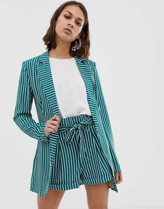 UNIQUE21 striped tailored single button blazer