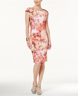 Eci Floral-Print Scuba Sheath Dress $70 thestylecure.com