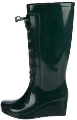 Saint Laurent Rubber Wedge Rain Boots