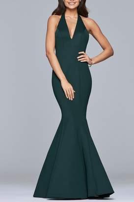 Faviana Long luxe jersey v-neck mermaid dress
