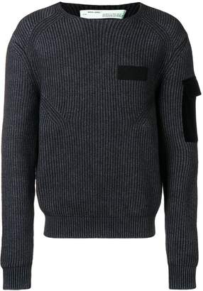Off-White two-tone ribbed jumper