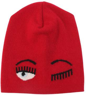 Chiara Ferragni Eye Intarsia Wool Blend Knit Beanie Hat