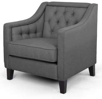 Baxton Studio Vienna Classic Retro Modern Contemporary Gray Fabric Upholstered Button-Tufted Armchair