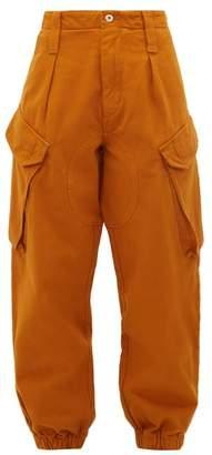Marques Almeida Marques'almeida - High Rise Cropped Denim Cargo Trousers - Womens - Brown