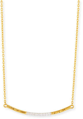 Gurhan 22k Gold Curved Bar Necklace w/ Diamonds
