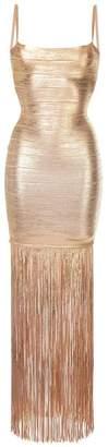 Herve Leger fringed shimmer dress