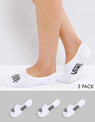 Vans 3 Pack White No Show Socks