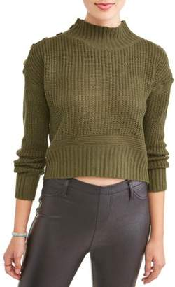 Say What Juniors' Side Button Turtle Neck Sweater