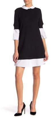 Sharagano Collared Ribbed Sweater Dress (Petite)