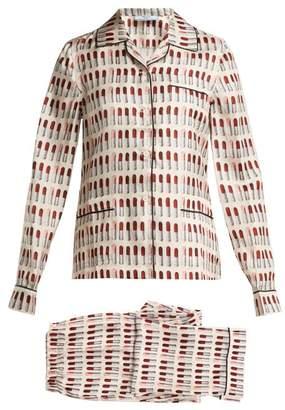 Prada Lipstick Print Silk Pyjama Set - Womens - White Print