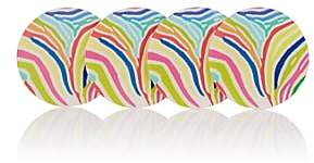 Barneys New York HAAS BROTHERS XO Zebra-Striped Acrylic Coaster Set