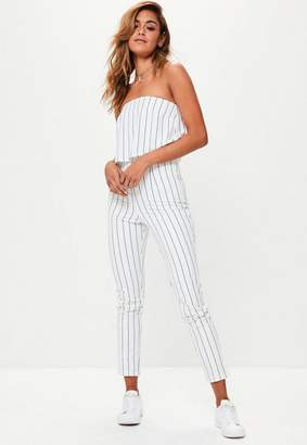 Missguided Petite White Bandeau Double Layer Romper