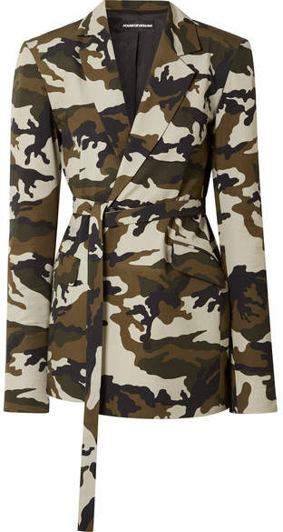 Oversized Belted Camouflage-print Cotton-canvas Blazer - Army green