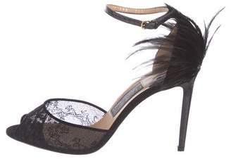 Salvatore Ferragamo Snakeskin-Trimmed Ankle Strap Sandals