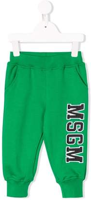MSGM Kids logo printed track pants