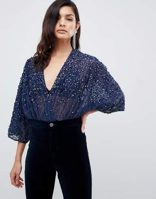 Asos Design DESIGN body in sequin embellishment with plunge wrap and kimono sleeve