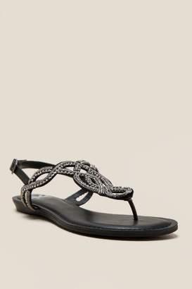 Fergalicious Supra Embellished T-Strap Sandal - Black