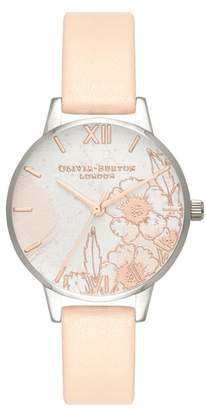 Olivia Burton Abstract Floral Leather Strap Watch, 30mm