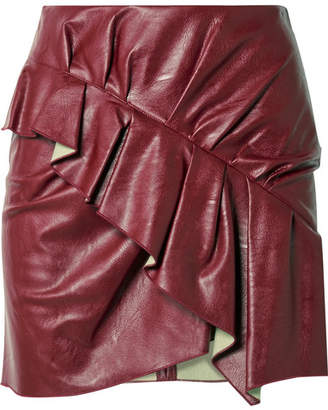 Etoile Isabel Marant Zeist Ruffled Faux Textured-leather Mini Skirt