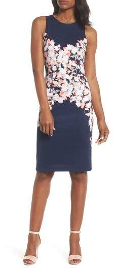 Floral Scuba Sheath Dress