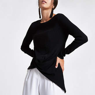 River Island Womens Black twist front knitted top