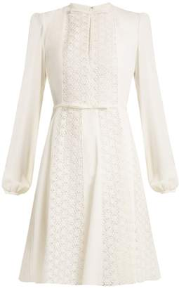 Giambattista Valli Floral-lace panelled silk-crepe dress
