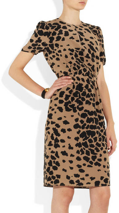 Burberry Animal-print silk dress
