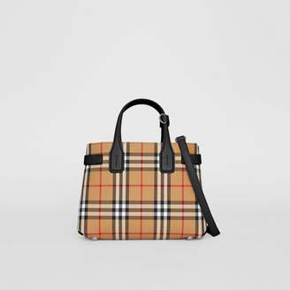 Burberry The Small Banner in Vintage Check and Leather, Black