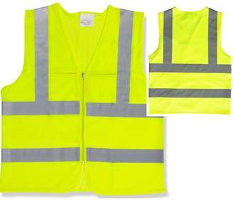STKUSA 2 Pockets High Visibility Neon Green Front Zipper Safety Vest with Reflective Strips ANSI ISEA, XXLarge