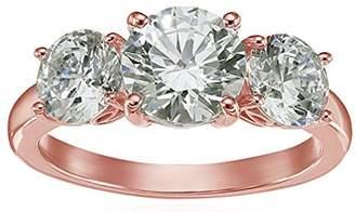7d3f2dfae Swarovski La Lumiere Rose Gold-Plated Sterling Silver Zirconia 1 cttw  Princess 3 Stone Ring