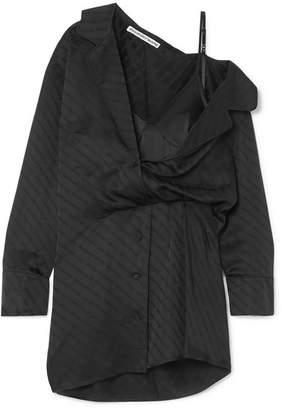 2b1d1415e163 Alexander Wang Draped Lace-trimmed Silk-blend And Satin-jacquard Mini Dress  -