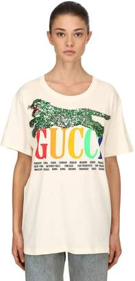 Gucci Sequined Patch Jersey T-Shirt