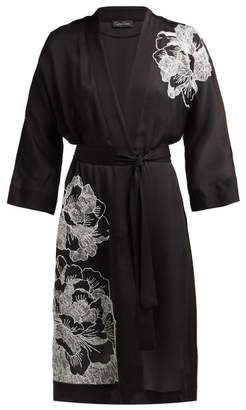 Carine Gilson Floral Embroidered Silk Satin Robe - Womens - Black White
