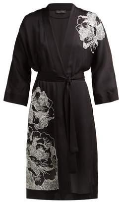 Carine Gilson Floral Embroidered Silk Satin Robe - Womens - Black White