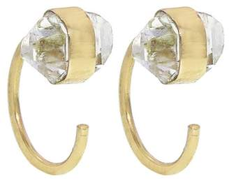 Melissa Joy Manning Tiny Herkimer Diamond Hug Earrings - Yellow Gold