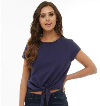 Board Angels Womens Tie Front Top Summer Navy