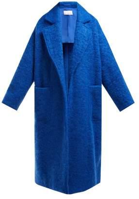 Raey Dropped Shoulder Wool Blend Blanket Coat - Womens - Blue