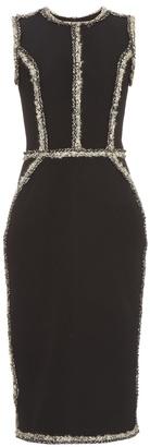 OSCAR DE LA RENTA Sleeveless tweed-trimmed pencil dress $3,190 thestylecure.com