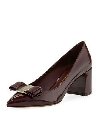 Salvatore Ferragamo Patent Leather Block-Heel Bow Pointed-Toe Pumps