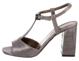 Lanvin Metallic T-Strap Sandals