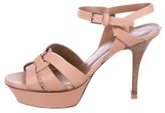Saint Laurent Leather Platform Sandals