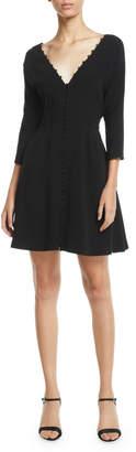 Cinq à Sept Joslyn Button-Front 3/4-Sleeve Short Dress