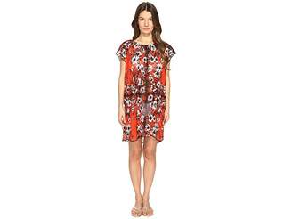 Fuzzi Single Layer Off the Shoulder Flower Print Cover-Up Women's Clothing