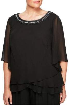 Alex Evenings Plus Beaded Neckline Blouse