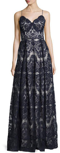 Catherine Deane Catherine Deane Sleeveless Pleated Lace Gown, Deep Sea/Silver Gray